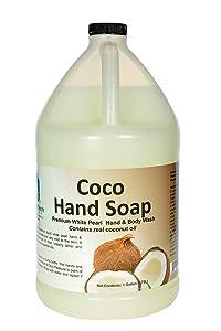 Simply Kleen USA Premium Simply Coco White Pearl Liquid Hand, Body Soap, Contains Real Coconut Oil, 1 gallon