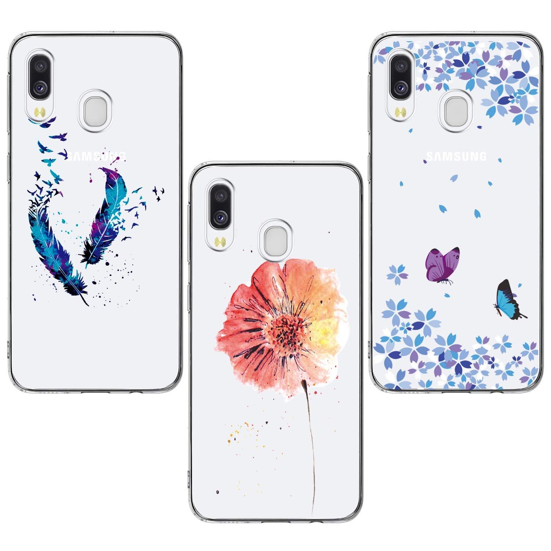 Piume Blu Farfalle E Fiori HOCORN 3X Cover con Motivo Dipinto per Samsung Galaxy A40 Custodia Protettiva Antiurto in Silicone TPU Morbido,Fiori Rosa