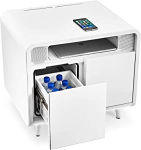SOBRO Smart Side/Nightstand Table - with Cooling Drawer, Wireless Charging, Bluetooth Speakers, USB-C and 120V outlets, LED Light, White/White
