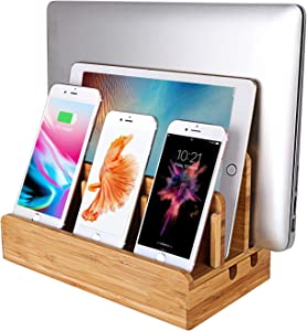 MOZOWO Bamboo Wood Multi-Device Desktop Charging Dock Station Charger Holder Cradle Stand Compatible for iPhone Xs MAX XR X 8 7 6 6S Plus iPad Mini Pro Air Laptop Tablets Samsung LG Sony Smartphones