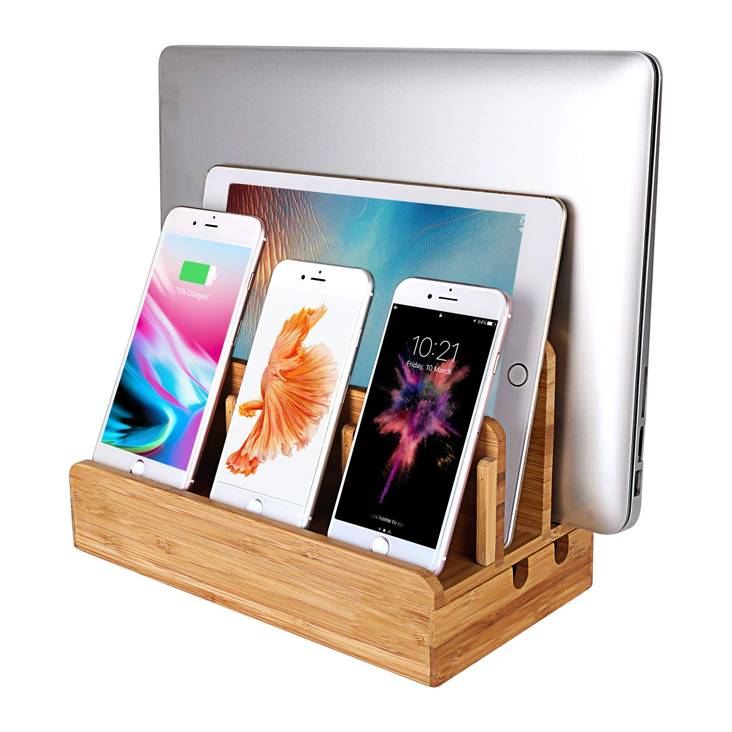 MOZOWO Bamboo Wood Multi-Device Desktop Charging Dock Station Charger Holder Cradle Stand Compatible for iPhone Xs MAX XR X 8 7 6 6S Plus iPad Mini Pro Air Laptop Tablets Samsung LG Sony Smartphones by MOZOWO