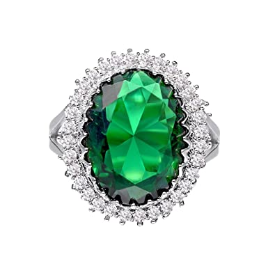 jewelry women ring silver product rings new green cubic fashion stone for sterling emerald simple