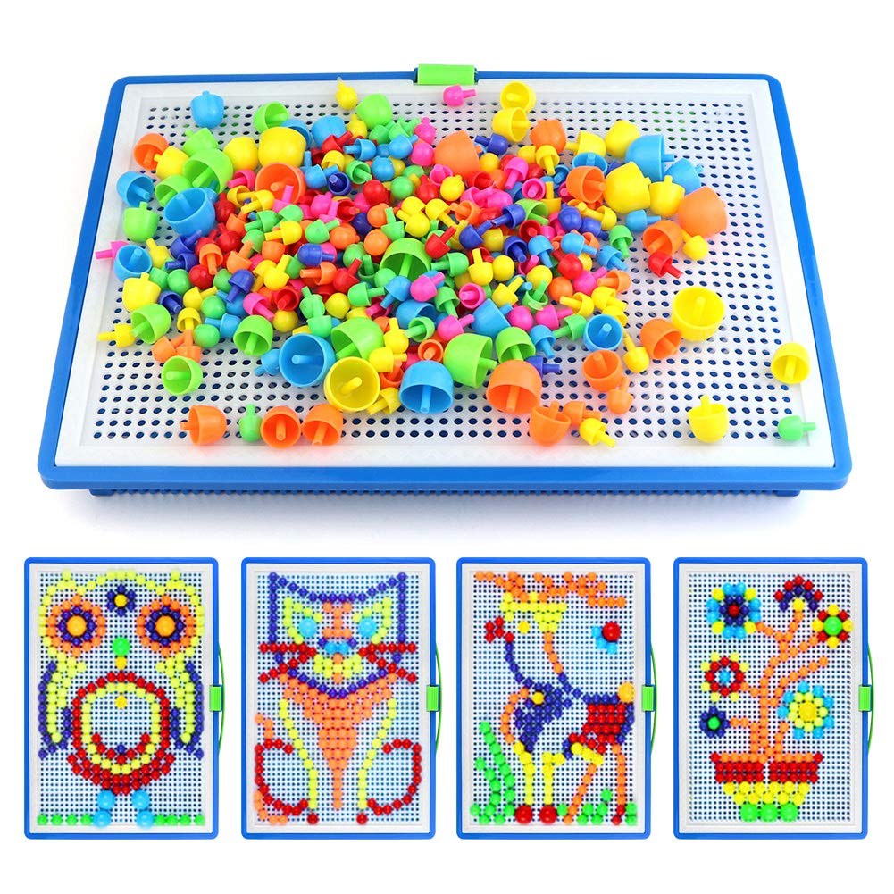 SENWOW 296Pcs Creative Mosaic DIY Puzzle Mushroom Nail The Composite Picture Peg Puzzle Game Intelligent 3D Games Educational Toys for Kids Children