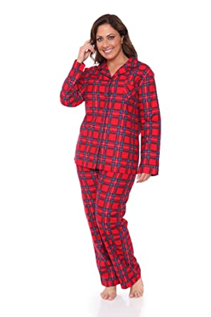 73ab970aa1 Plus Size Comfortable Womens Flannel Pajama Set by WM at Amazon ...