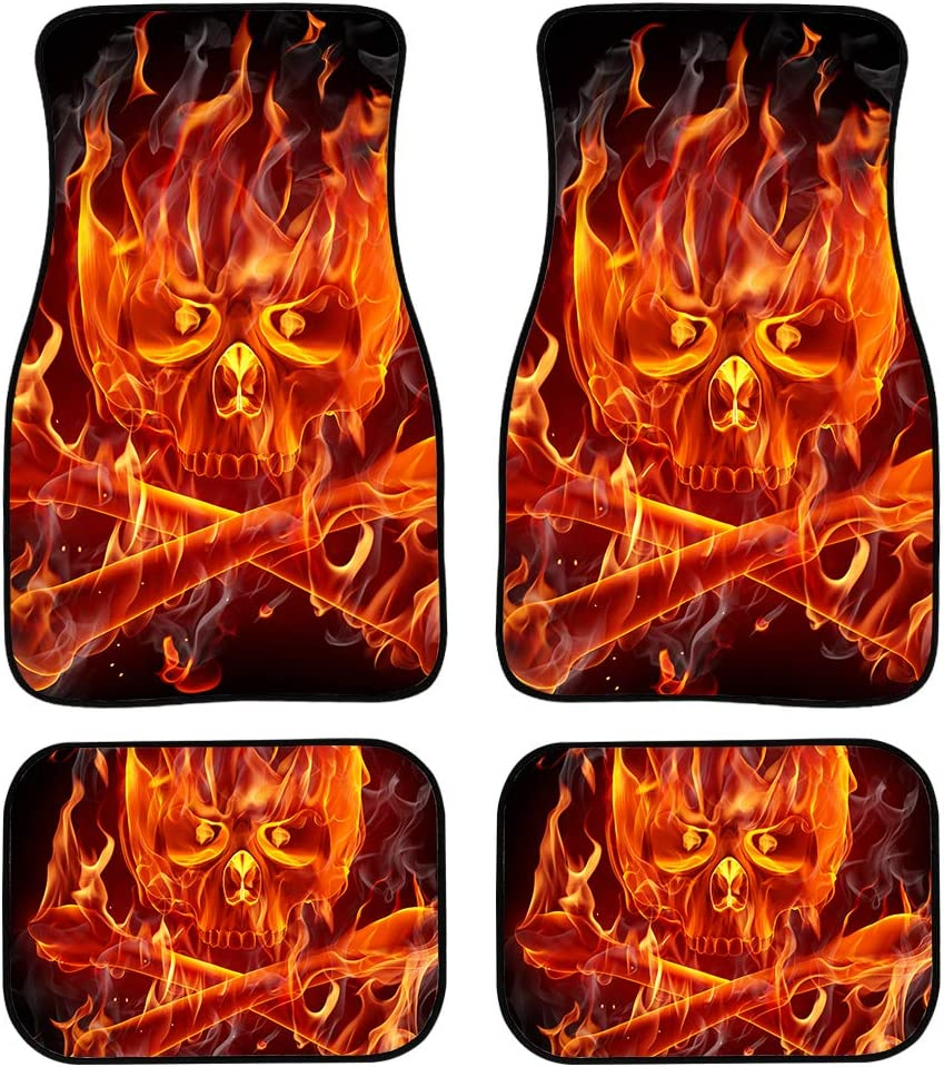 A Set of 4 PCs UNICEU Print Fluorescence Purple and Black Skull Universal Fit Carpet Floor Mats for Cars,SUVs,Trucks or Sedans