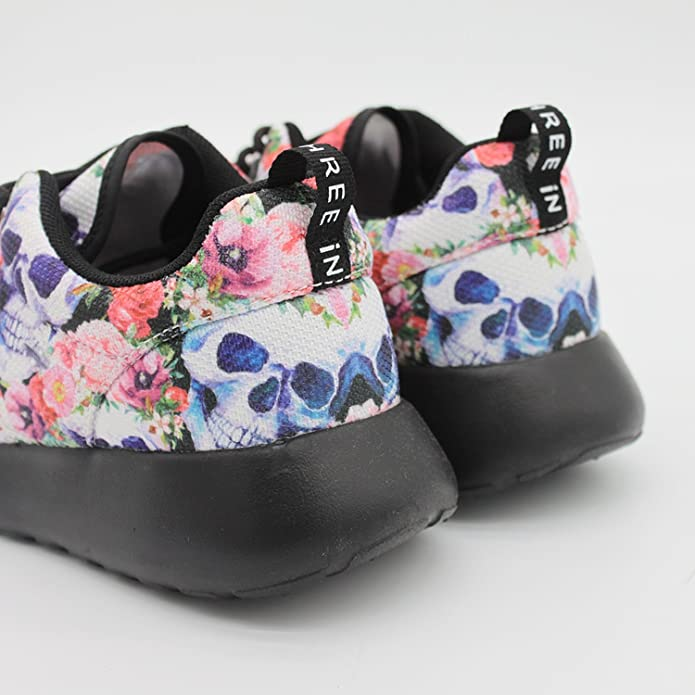 1cb7a99b0d584 Amazon.com | cozyshoeson Human Skull and Flower Women Running Shoes ...