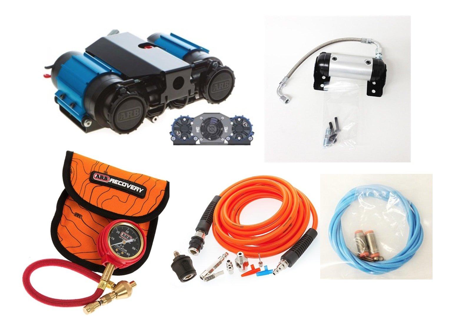 ARB 12 Volt High Performance Twin Air Compressor & E-Z Deflator , Airline, Tire Inflation Kit & Air Locker Manifold Kit
