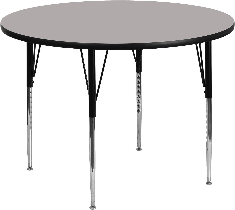 Flash Furniture 42'' Round Grey HP Laminate Activity Table - Standard Height Adjustable Legs