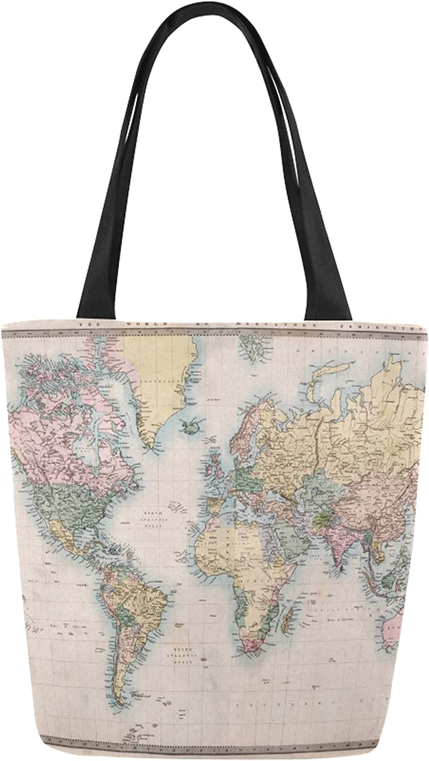 InterestPrint Vintage Retro World Map Canvas Tote Bag Shoulder Handbag for Women Girls