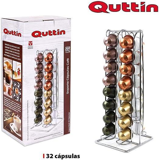 Dream Hogar Soporte capsulas portacapsulas Cafe nespresso Metal Cromado 32 capsulas 10,5x30 cm: Amazon.es: Hogar