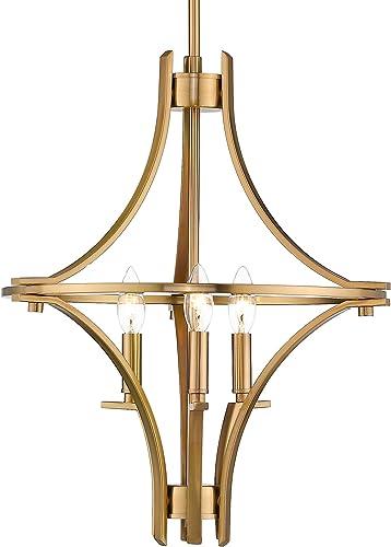 Emliviar 3-Light Farmhouse Chandelier for Dining Room, Modern Foyer Pendant Light in Gold Finish, 010-3B