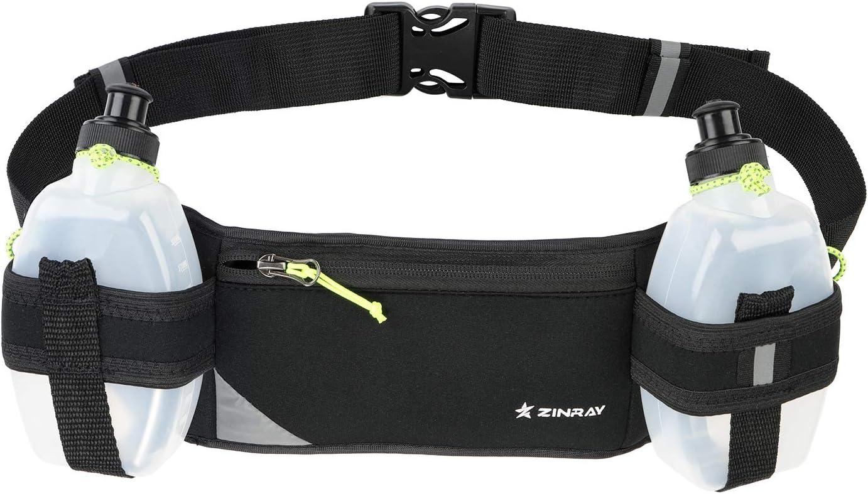 ZINRAY Running Belt with 2 Water Bottles Multifunctional Zipper Pockets Water Resistant Hydration Waist Pack for Marathon Running Hiking Cycling Climbing Dog Walking