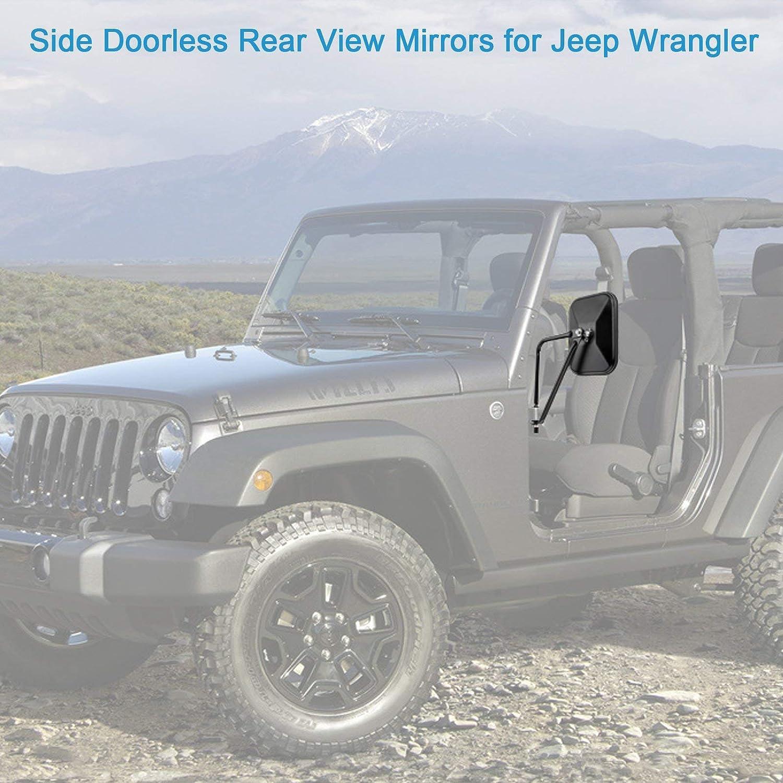 2pcsside View Door Mirrors For Jeep Wrangler Doors Off Round Wrangler1997 2018sahara