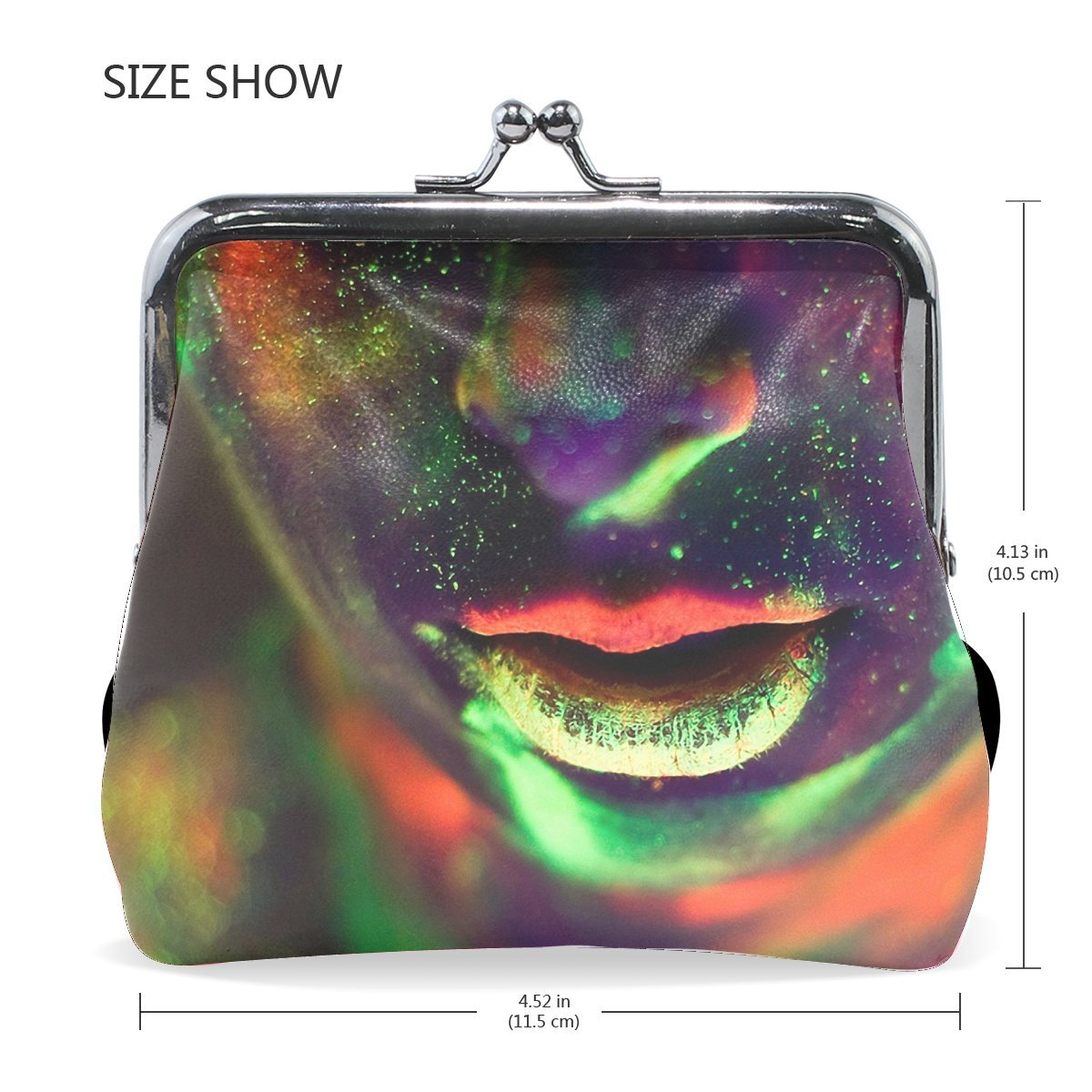 Women Face Lips Stains Make-up Creative Print Wallet Exquisite Clasp Coin Purse Girls Clutch Handbag