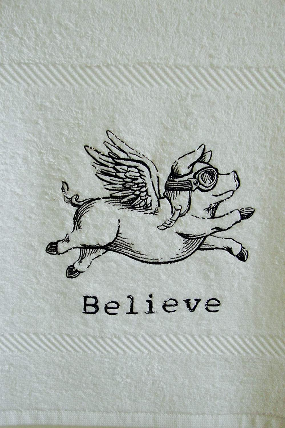 Flying Pig Believe Flannel Facecloth Embroidered Pig face cloth gift