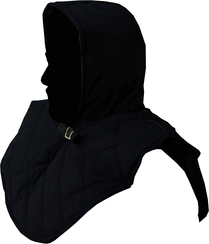 Renaissance Medieval Cotton Padded Armor Collar and Coif Arming Cap Black
