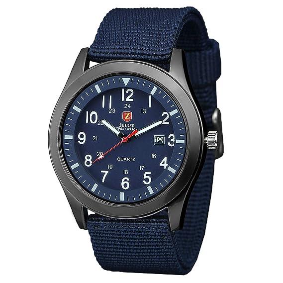 Zeiger Reloj unisex cuarzo – Date Fluorescence Agujas – Army azul Canvas Nylon pulsera … (
