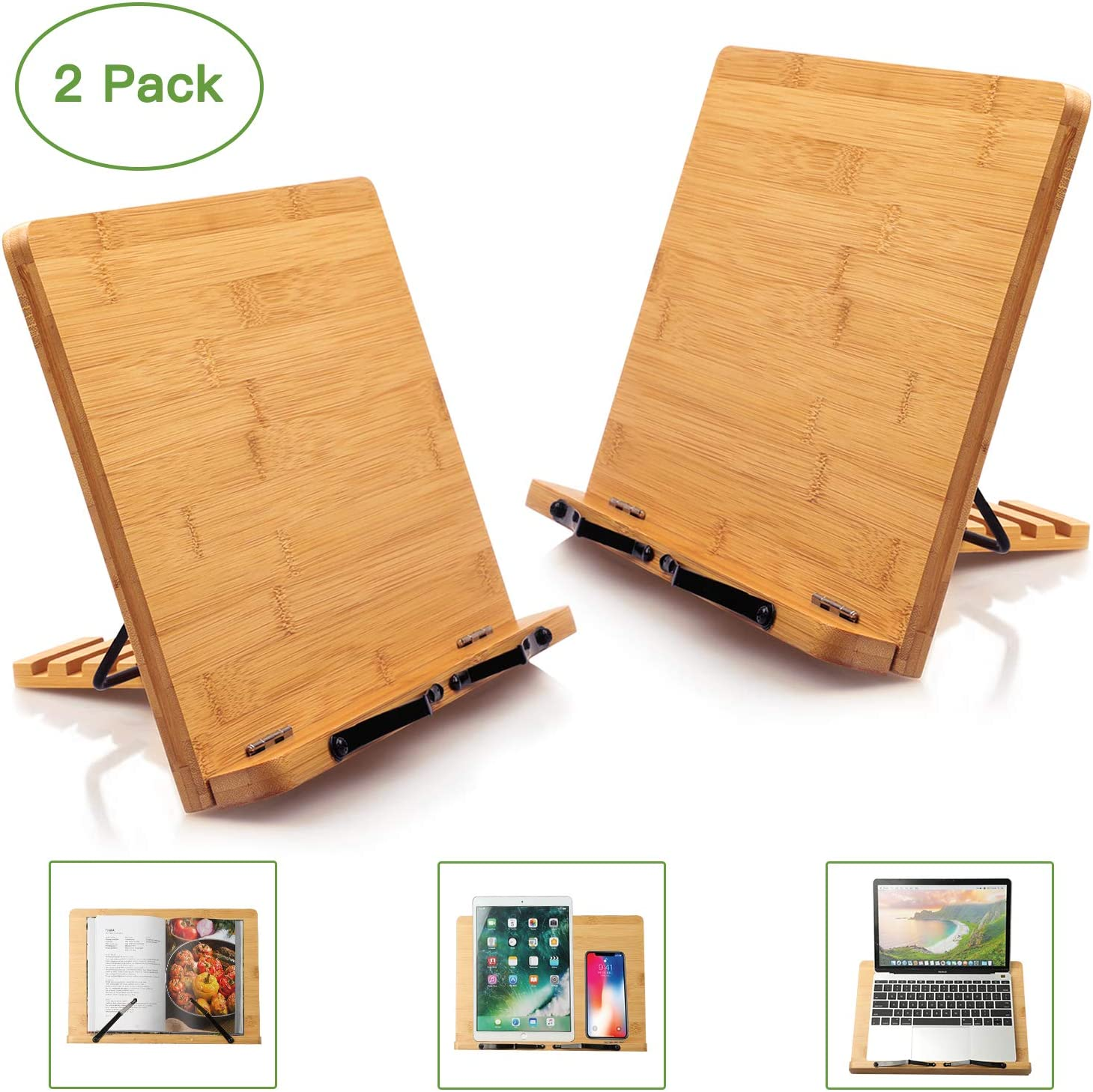 Laptop Magazine Music Book Recipe Bamboo Book Stand Cookbook Holder Desk Reading with 5 Adjustable Height Tablet 2 Pack Paper Page by Pipishell Portable and Foldable Bookstands for Textbook