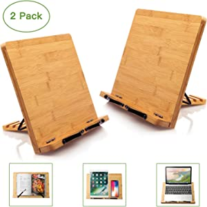 Bamboo Book Stand Cookbook Holder Desk Reading with 5 Adjustable Height, Portable and Foldable Bookstands for Textbook, Recipe, Magazine, Music Book, Laptop, Tablet, Paper Page by Pipishell (2 Pack)