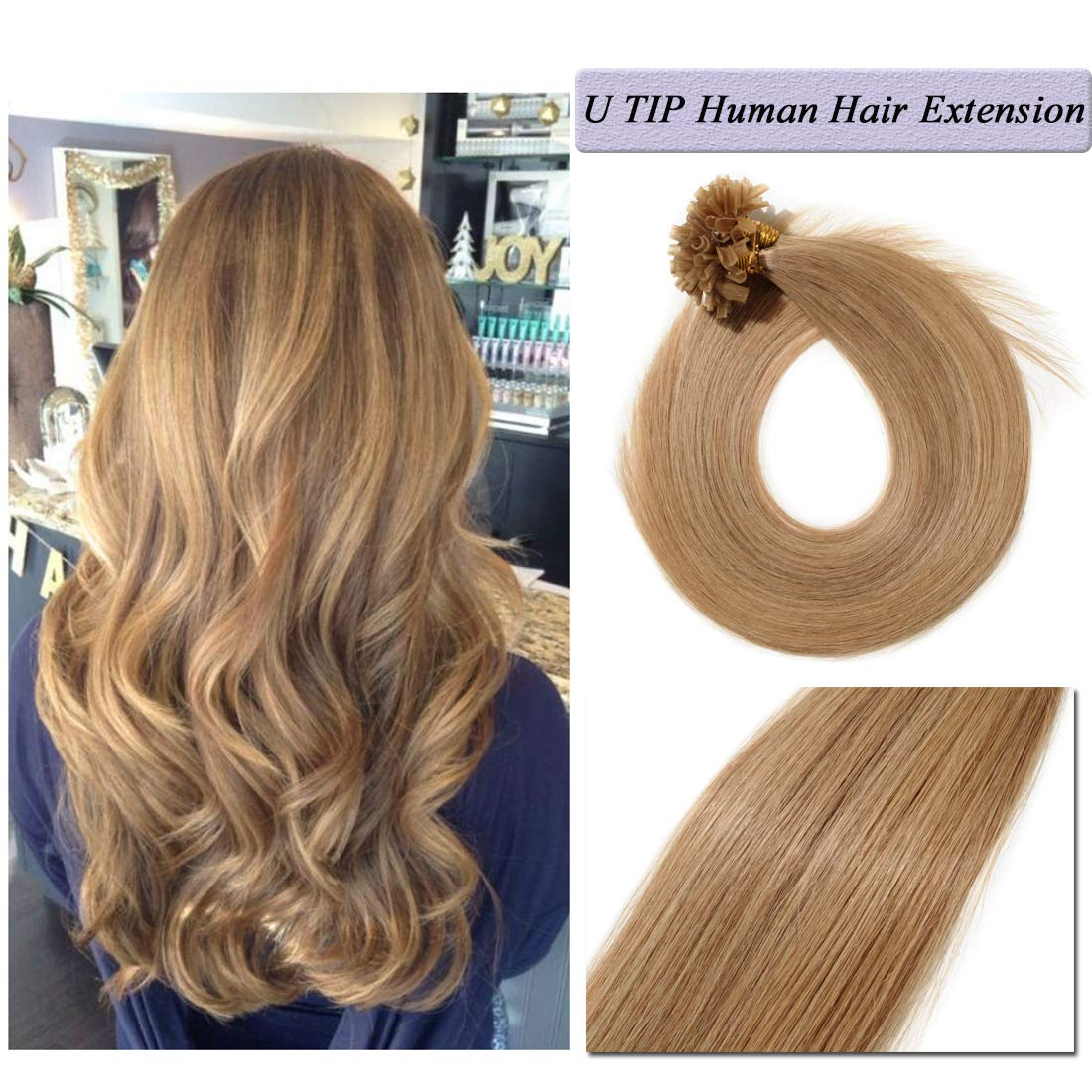 U Tip Human Hair Extensions Pre Bonded Nail Tipped Real Human Hair Piece Italian Keratin U Tip Fusion Extensions Silky Straight 100 Strands 16''-50g (#27 Dark Blonde) by S-noilite