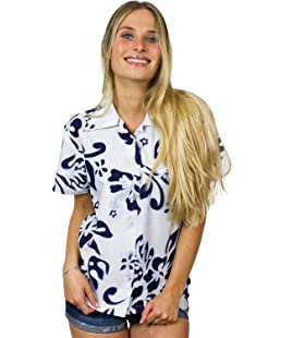 Funky Hawaiian Blouse Shirt, Shortsleeve, Hibiscus, Navyblue on White, S