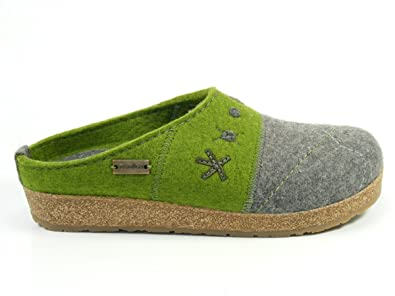 Schuhe Damen Hausschuhe Pantoffeln Wolle Grizzly Tristan 731040, Schuhgröße:41;Farbe:Blau Haflinger