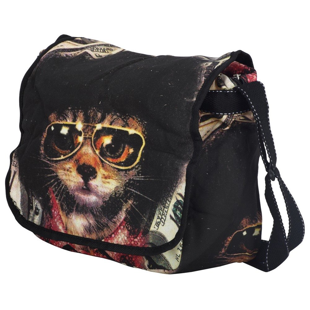 UNISIGN Cotton Messenger Shoulder Bag medium size cats