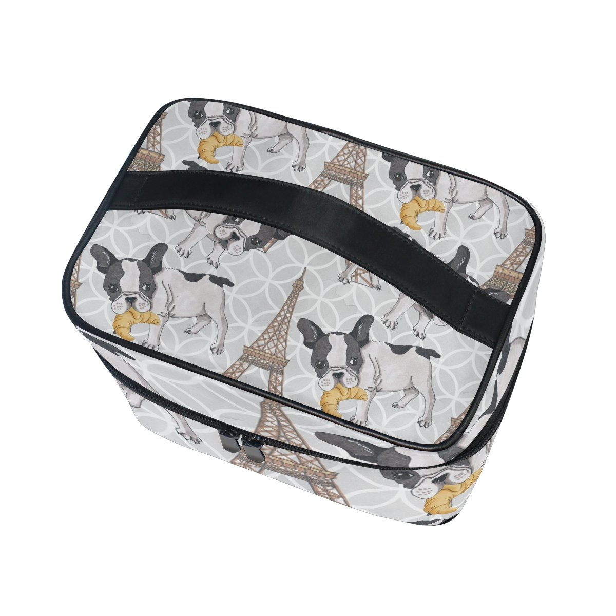 KUWT French Bulldog with Croissant in Eiffel Tower Women Travel Cosmetic Bag Portable Makeup Train Case Toiletry Bag Beauty Organizer