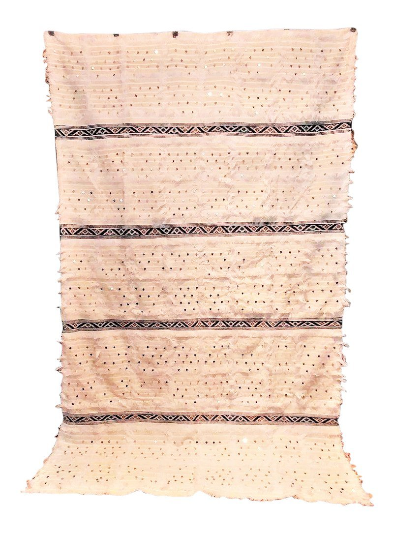 Moroccan Wedding Blanket with Sequins (9'5'' x 5'9'') Boho Chic Handmade Heirloom - Natural (Ships from within USA)