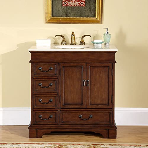Silkroad Exclusive Crema Marfil Marble Stone Single Sink Bathroom Vanity