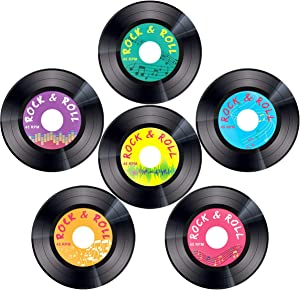 30pcs Record Cutouts 1950's Rock and Roll Music Party Two Sided Decoration 7 Inches