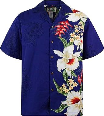 KYs | Original Camisa Hawaiana | Caballeros | S - 4XL | Manga Corta | Bolsillo Delantero | Estampado Hawaiano | Flores | Azul: Amazon.es: Ropa y accesorios