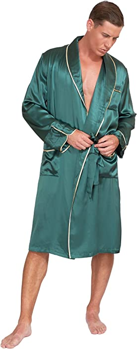 efde37e3ea8f 22 Momme 100% Pure Mulberry Silk Men s Lightweight Kimono Style Spa and Lounge  Robe with Gift Box