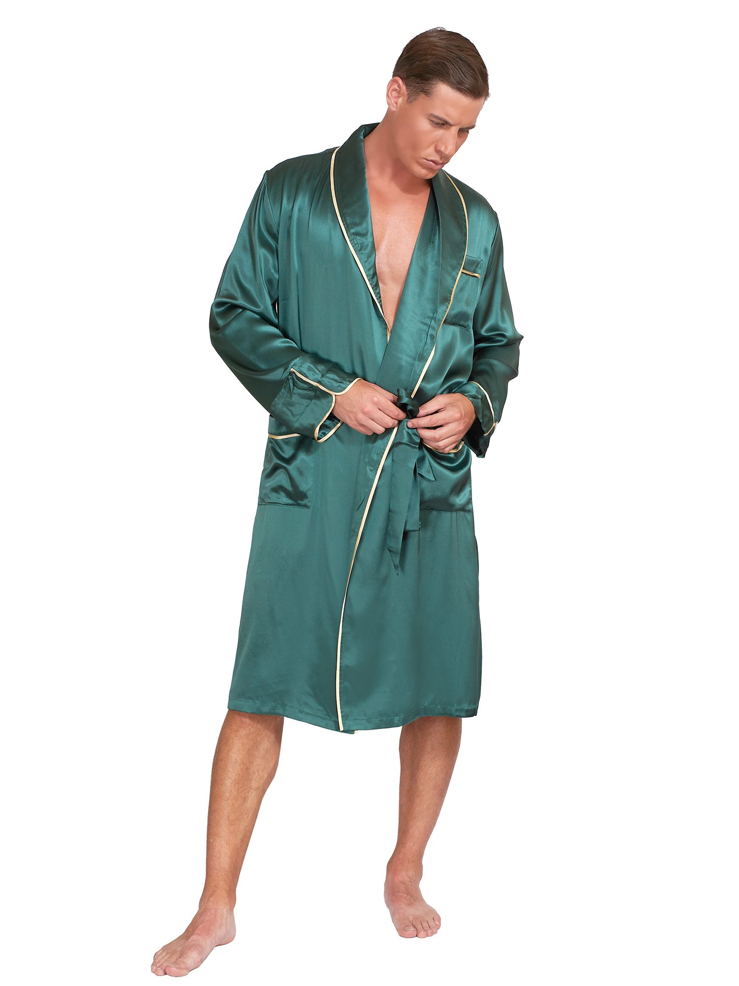 MYK Silk - Men's Classic Silk Robe - Gift Box included (Large, Dark Green)