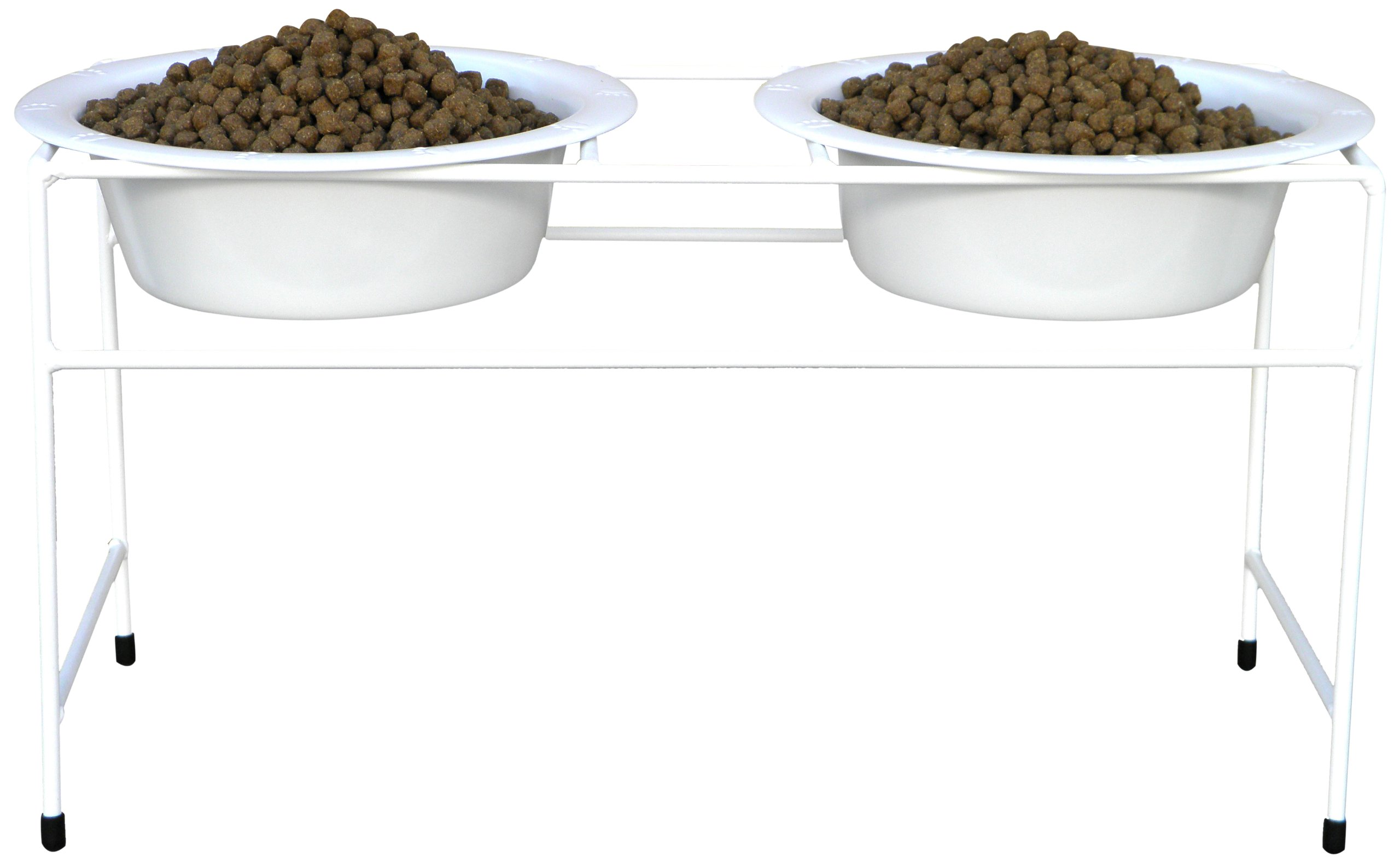 Platinum Pets Double Diner Feeder with Stainless Steel Dog Bowls, 50 oz, White