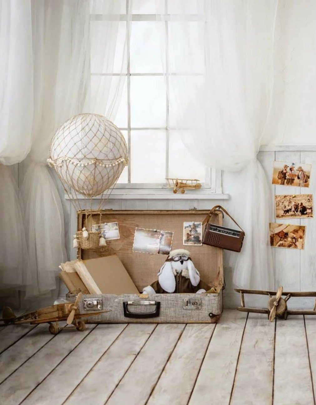 Amazon.com : Indoor Room Kids Photography Background Vintage Suitcase with Toy White Window Curtain Wood Wall Children Booth Background for Photo Studio 5×7 ...