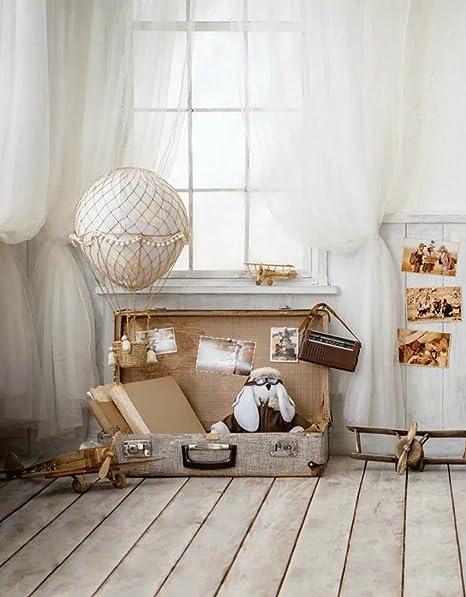 Interior Niños Fotografía fondo Vintage maleta con juguete blanco cortina de ventana cabina de niños de