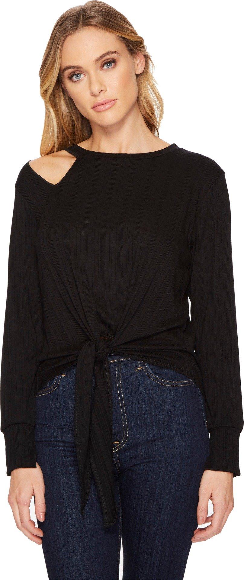 LNA Women's Lurque Ribbed Tie Front Tee, Black, Medium