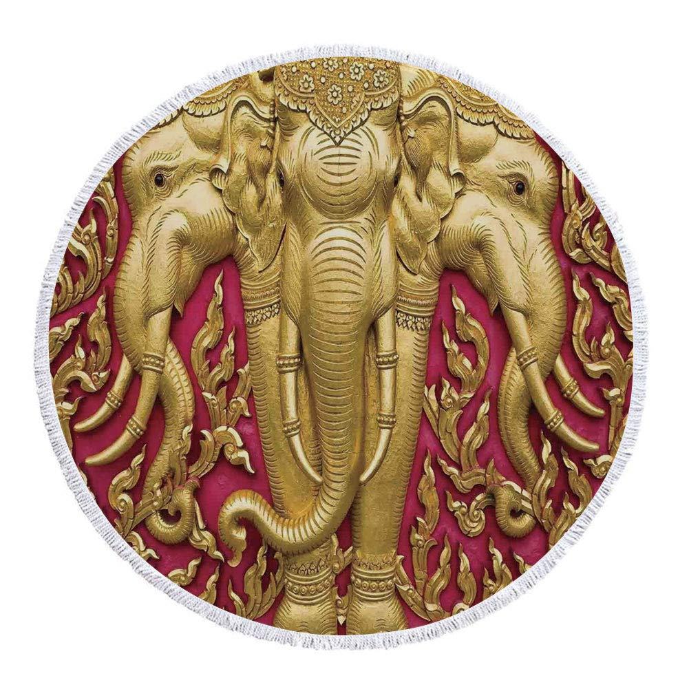 Thick Round Beach Towel Blanket,Elephants Decor,Elephant Carved Gold Paint on Door Thai Temple Spirituality Statue Classic,Multi-Purpose Beach Throw