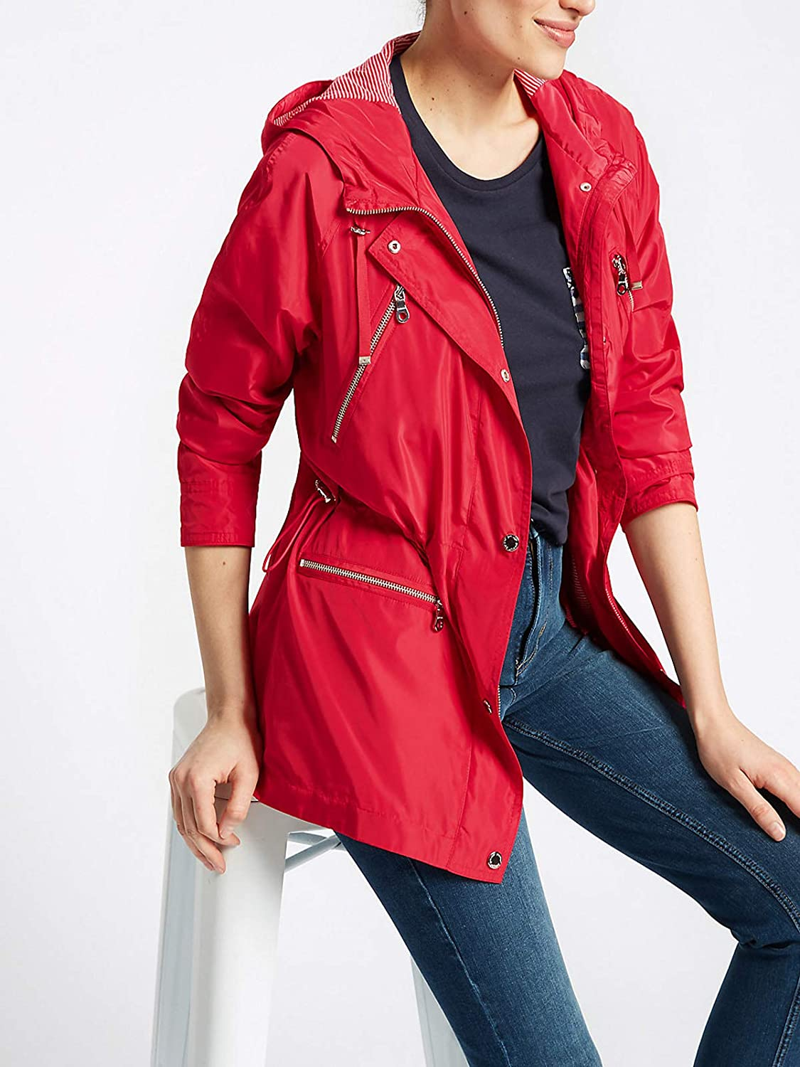 Marks /& Spencer Ex Per UNA Ladies Parka Coat with Stormwear Cherry Red 8-20