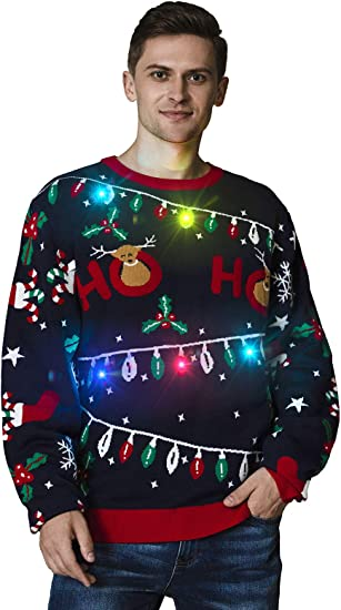 OFF THE RACK Unisex Womens LED Light Up Ugly Christmas Jumper Funny Xmas Pullover Sweater Femme
