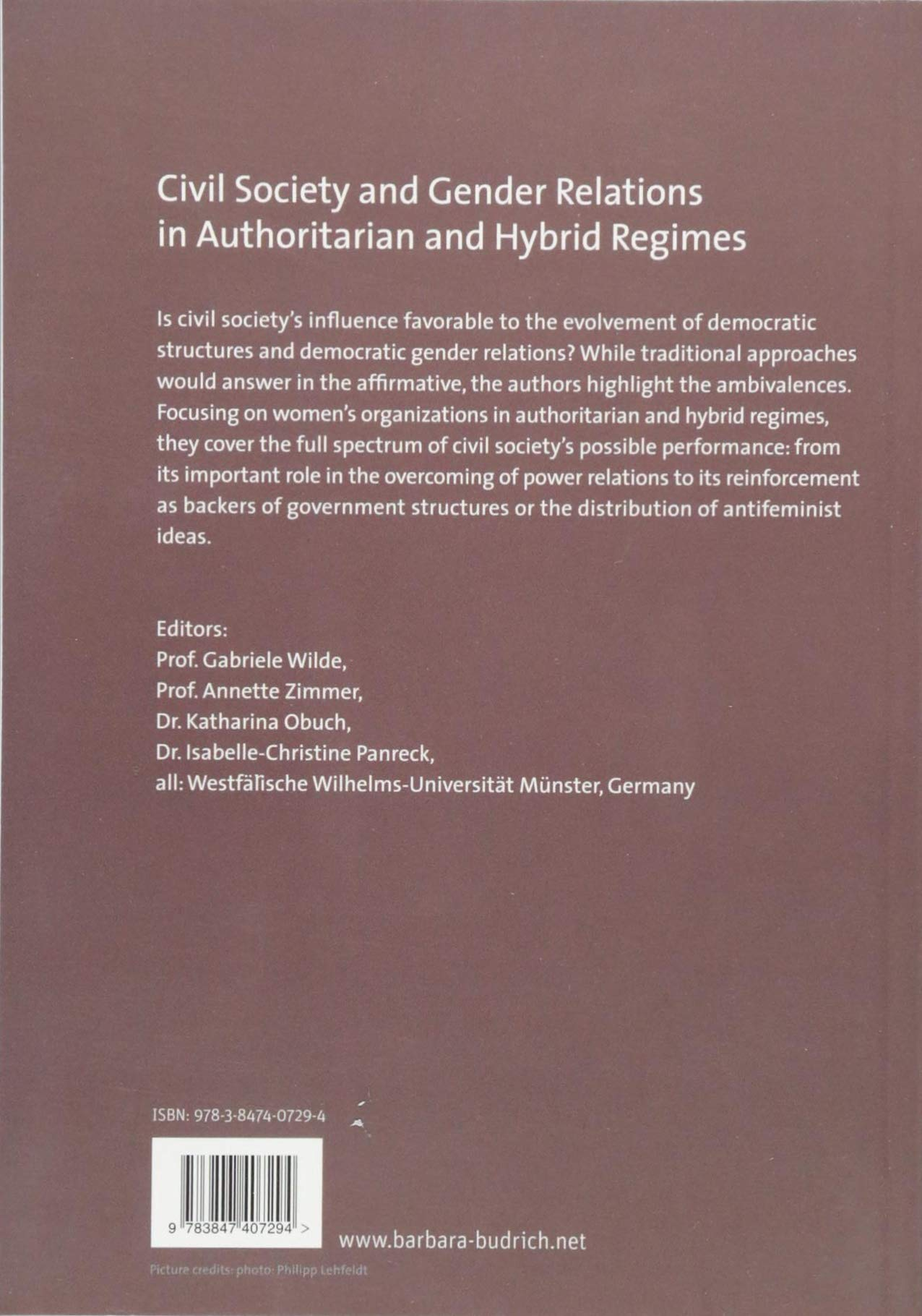 Amazon.com: Civil Society and Gender Relations in Authoritarian and Hybrid  Regimes: New Theoretical Approaches and Empirical Case Studies  (9783847407294): ...