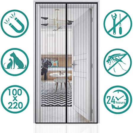 AMZERO Mosquitera Puerta Magnetica Mosquiteras Enrollables Magnética Automático Cierra Automáticamente para Puertas Correderas/Balcones/Terraza - Negro 110x210cm(43x83inch): Amazon.es: Hogar