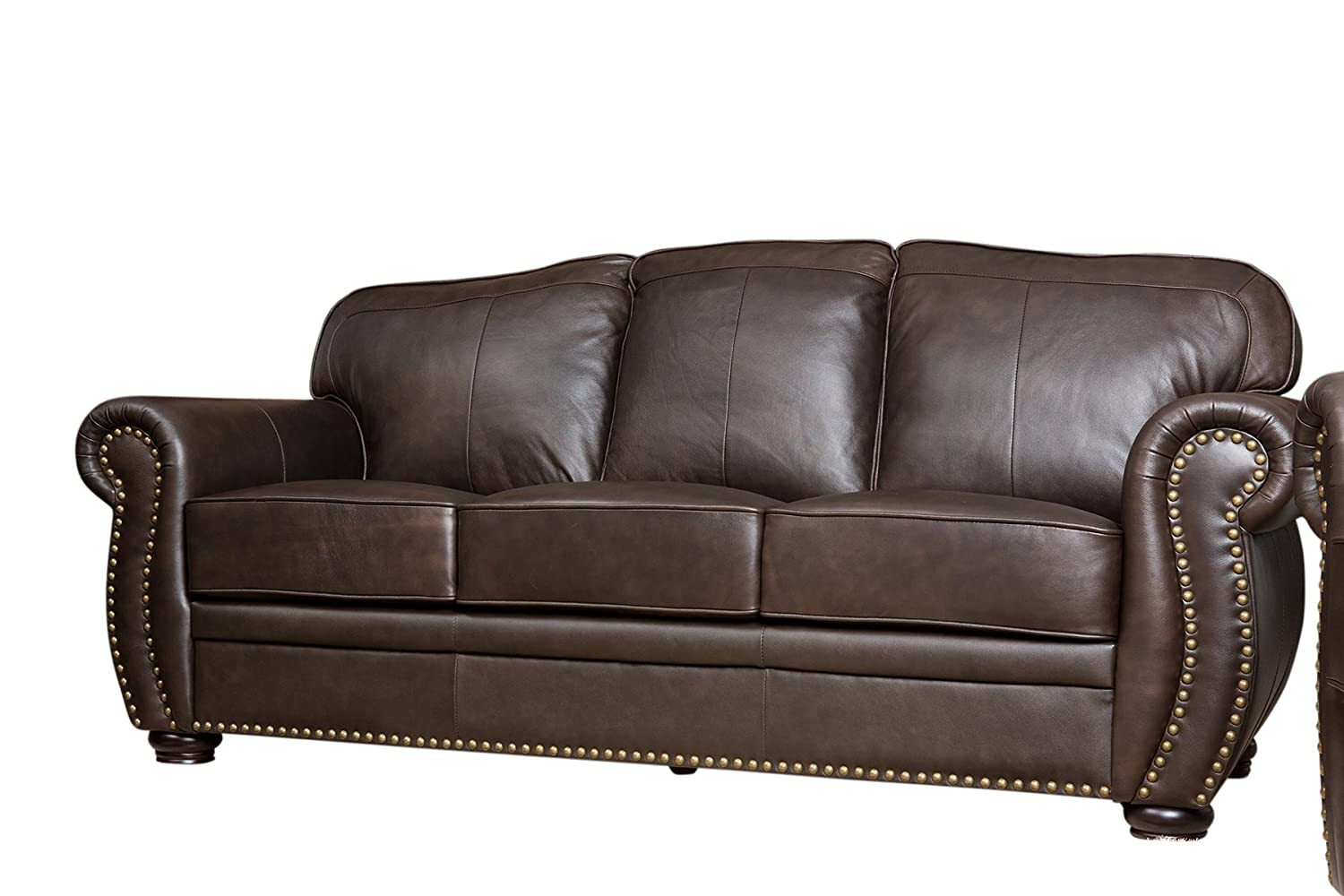 Amazon.com: Abbyson Palaza Leather Sofa, Brown: Home & Kitchen
