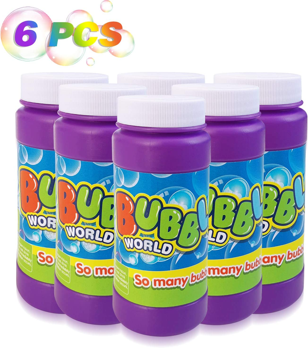 HOMOFY 6 Refill Bubble Solution 24OZ Non-Toxic Bubble Solution Liquid for Bubble Machine,Bubble Blowing Gun,Toy Wands Bubble Liquid Make Bubbles for Kids&Toddlers Parties,Weddings,Outdoor