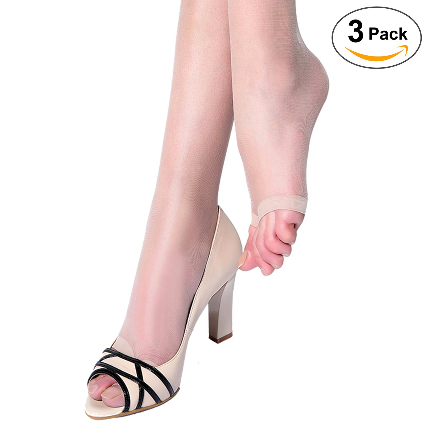 Womens Open Toe Pantyhose 3 pack Ultra Soft Stirrup Sheer Stockings T crotch Tights(Beige)