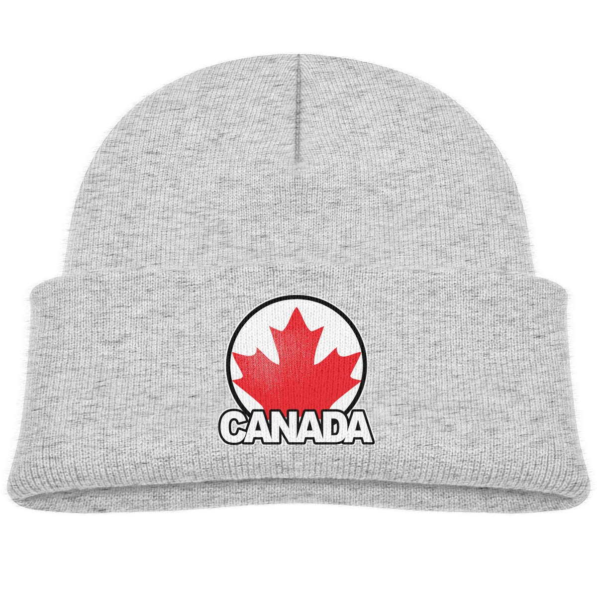 Kids Knitted Beanies Hat Canada Maple Leaf Winter Hat Knitted Skull Cap for Boys Girls Black kidhome