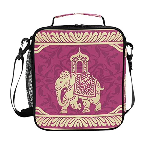 a6837a4a1dff Amazon.com: Hippie Indian Elephant Mandala Insulated Lunch Bag Box ...