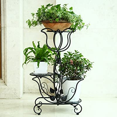 Yxx max -Home Decoration Flower Stand Wrought Iron Flower Stand Multilayer Indoor Balcony Living Room Plant Stand Flower Shape Display Stand (Color : B) : Garden & Outdoor