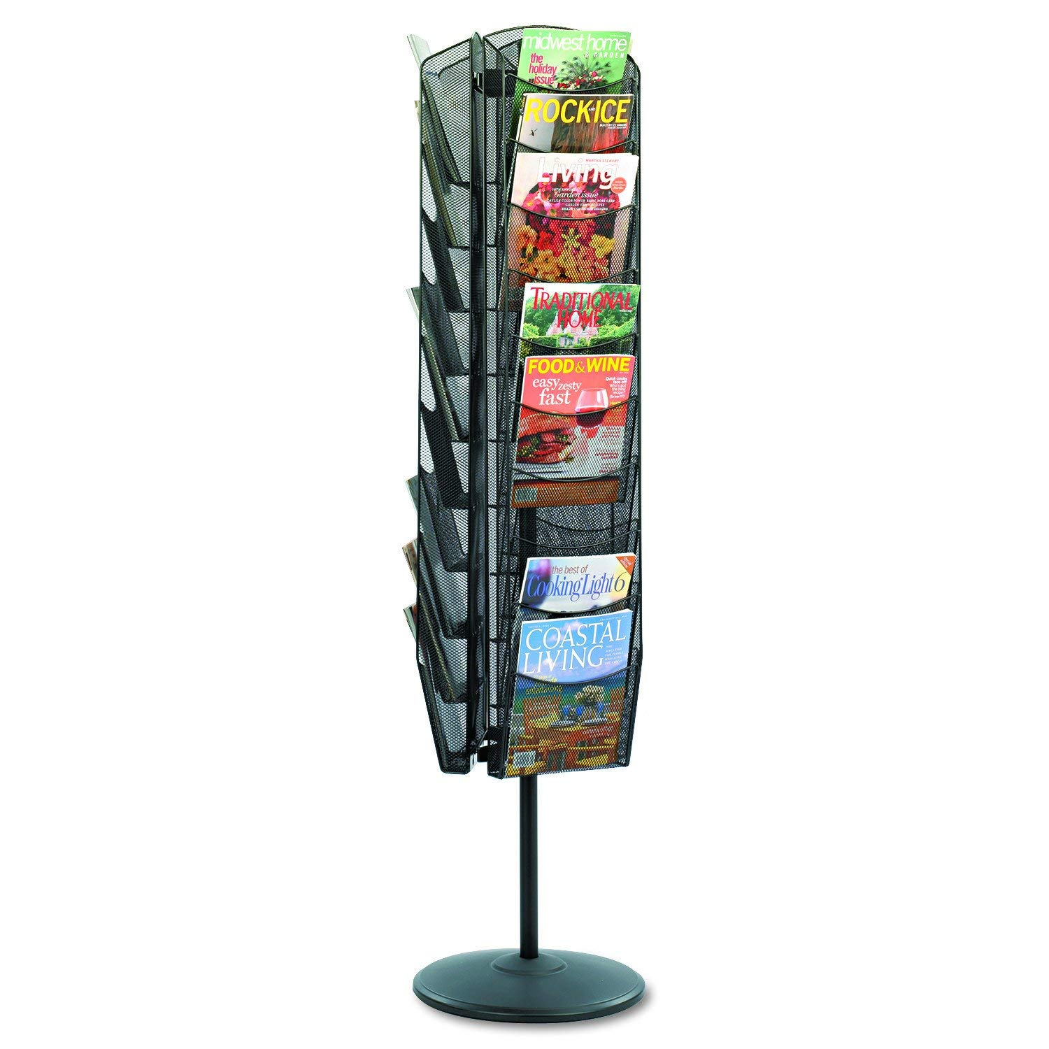 Safco Products Onyx Mesh Rotating Magazine Stand, 5577BL, Black Powder Coat Finish, Durable Steel Mesh Construction, Rotates 360 Degrees (Renewed) by Safco Products